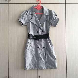 90s Grey and White Stripes Dress