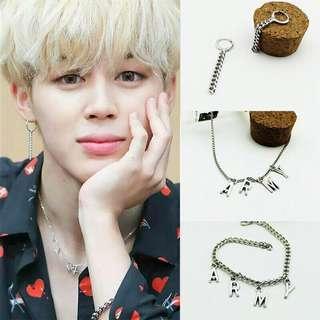 (Set) BTS ARMY Necklace+Bracelet+Earrings+Ring