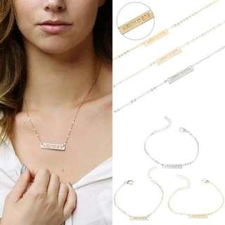 (Set) BTS ❤ ARMY Necklace and Bracelet (Rose Gold)