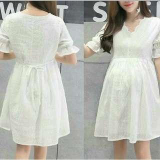 White Lace Nursing Dress