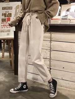🚚 秋冬女裝韓版寬鬆加厚松緊腰休閒高腰直筒毛呢顯瘦長褲學生褲子
