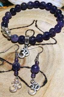 Set of Amethyst Ohm and Buddha bracelet and Earring, Free Postage