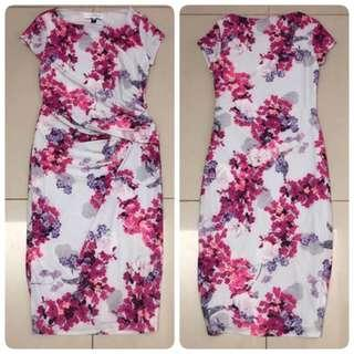 Dorothy Perkins Lily & Franc Hibiscus Print Dress (Multi White)