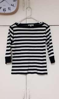 Black and white stripe 3/4 top
