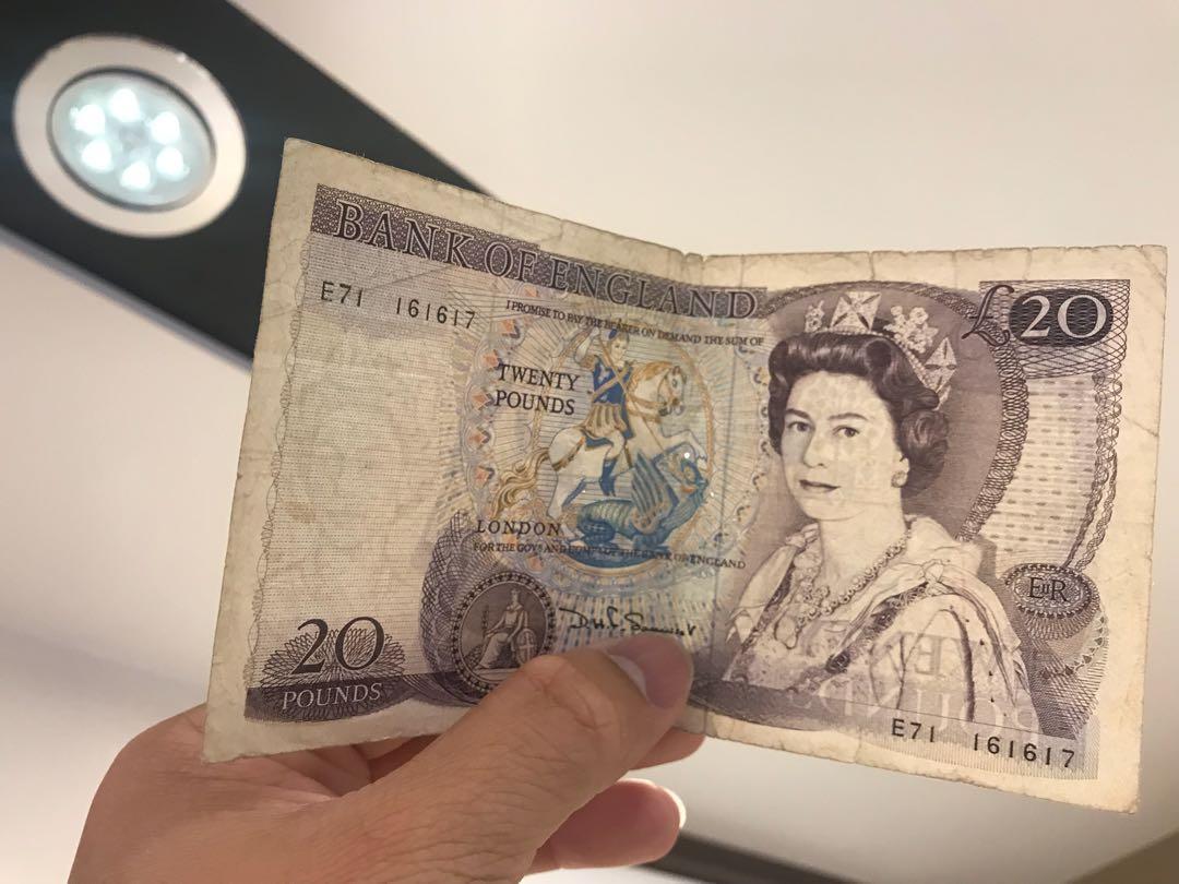 1970年 英國🇬🇧舊20英鎊 £20Pounds (背面: 莎士比亞)