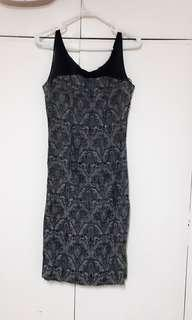 Printed charcoal sunday dress