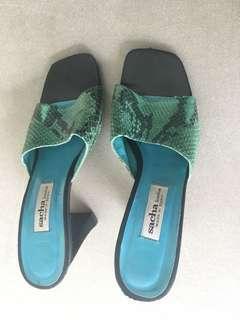 Turquoise Leather Designer Heels