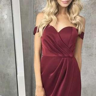 Love Honor burgundy off shoulder dress