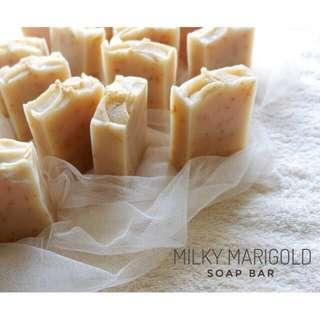 Premium kefir calendula & oat soap ( marigold milky soap bar )