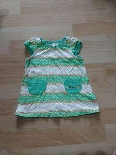 🚚 80碼清新綠白小花點點洋裝