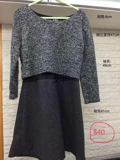 冬季 連身裙 短褲 條紋恤衫