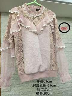 韓國女裝衫 透明袖 毛冷面 lace 衫