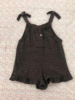Zara毛呢格子吊帶褲裙(2-3y)