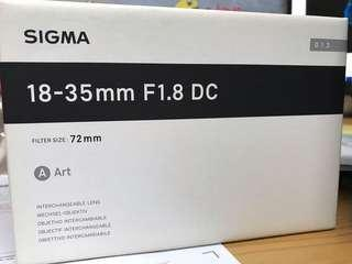 Sigma 18-35mm F1.8 DC ART for canon