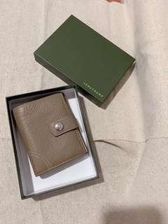 🚚 ||二手|| Longchamp 奶茶色 荔枝皮紋 短夾 保證真品