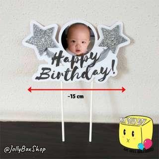Feb19 Glittery Star Cake Topper   #PartyDeco #CakeToppers #BirthdayParty
