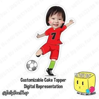 Feb19 Soccer Player Theme with Customized Head Cake Topper, #Soccer #PartyDeco #ForCakes