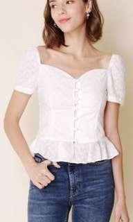 🚚 Andwelldressed Carnival Button Down Peplum Top (Eyelet) - M