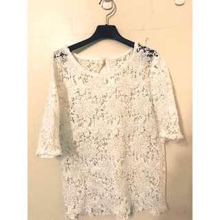 🚚 好浪漫~精緻蕾絲罩衫SM都可穿喔 穿起來非常有氣質喔 是精緻的立體蕾絲雕花唷!!