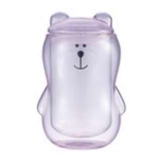 [星巴克]粉Bearista造型雙層玻璃杯