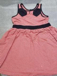 Preloved red and blue stripes dress