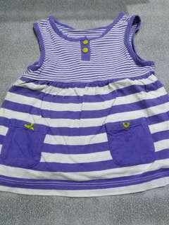 Preloved white and purple stripe baby dress