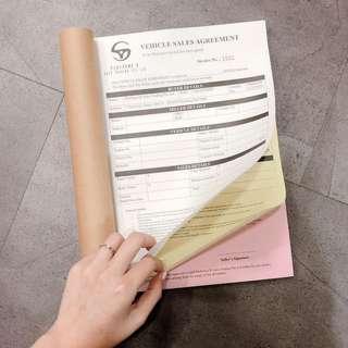 💖 Agreement receipt CARBON COPY PRINTING