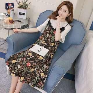 Maternity & Nursing Korean Style Floral Dress