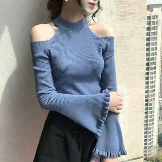 [Promo] Long Sleeve Off Shoulder Knitted Top