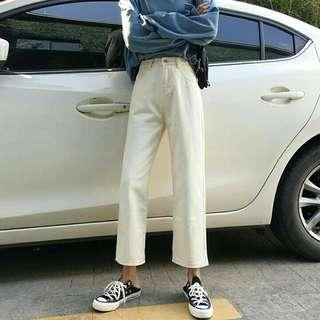 ulzzang high waisted beige/white jeans