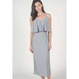 MDS Margo Overlay Dress in Grey Polka Dots