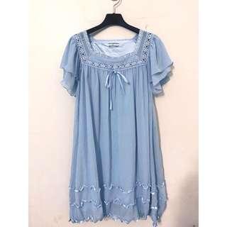 🚚 日本帶回 原價3280 高級水藍色氣質雪紡洋裝 M小L 超級修飾身材喔 超美的~❤️