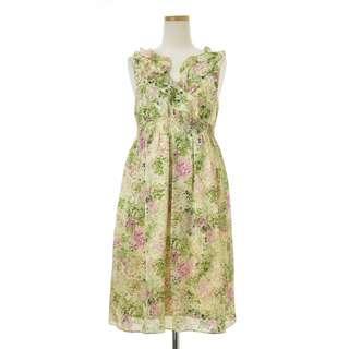 🚚 【MELROSE】日本製 胸前荷葉束腰甜美小女人花草印花雪紡無袖洋裝