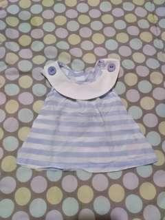 Preloved white and blue stripes baby blouse