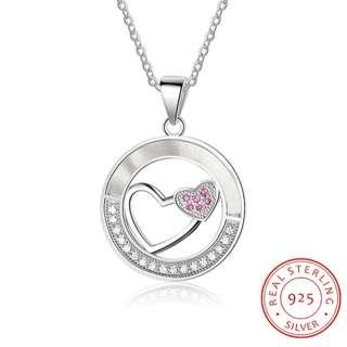 🚚 💕ELEGANT DOUBLE HEART GENUINE 925 STERLING SILVER & CUBIC ZIRCONIA WOMEN BRIDESMAID NECKLACE | ENGAGEMENT GIFT | ANNIVERSARY GIFT💕