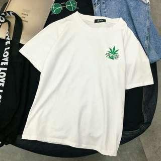 ulzzang white basic weed shirt / tee