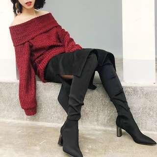 🚚 酒紅色 寬領毛衣洋裝 一字領