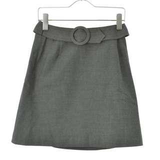 🚚 【CLATHAS】日本製 灰色復古圓釦腰帶短裙