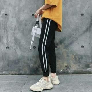 ulzzang double stripes jogger pants