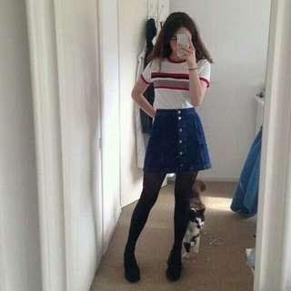 ulzzang blue button down skirt