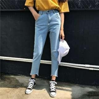 ulzzang light blue denim jeans
