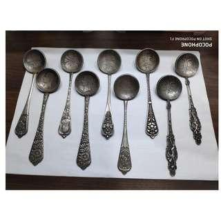 18th CENTURY RUSSIAN ANTIQUE SILVER SPOON DECORATED WITH COIN (10pcs)
