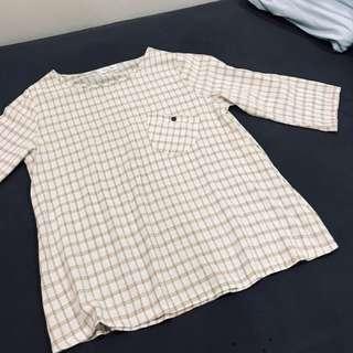 棉麻格紋復古口袋上衣