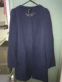 HM long navy jacket size 34
