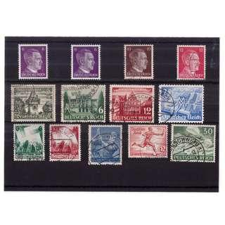 Mixed Nazi Germany Stamp Stockcard