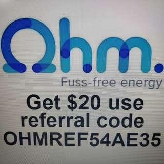 Ohm switch electricity provoder Get $20