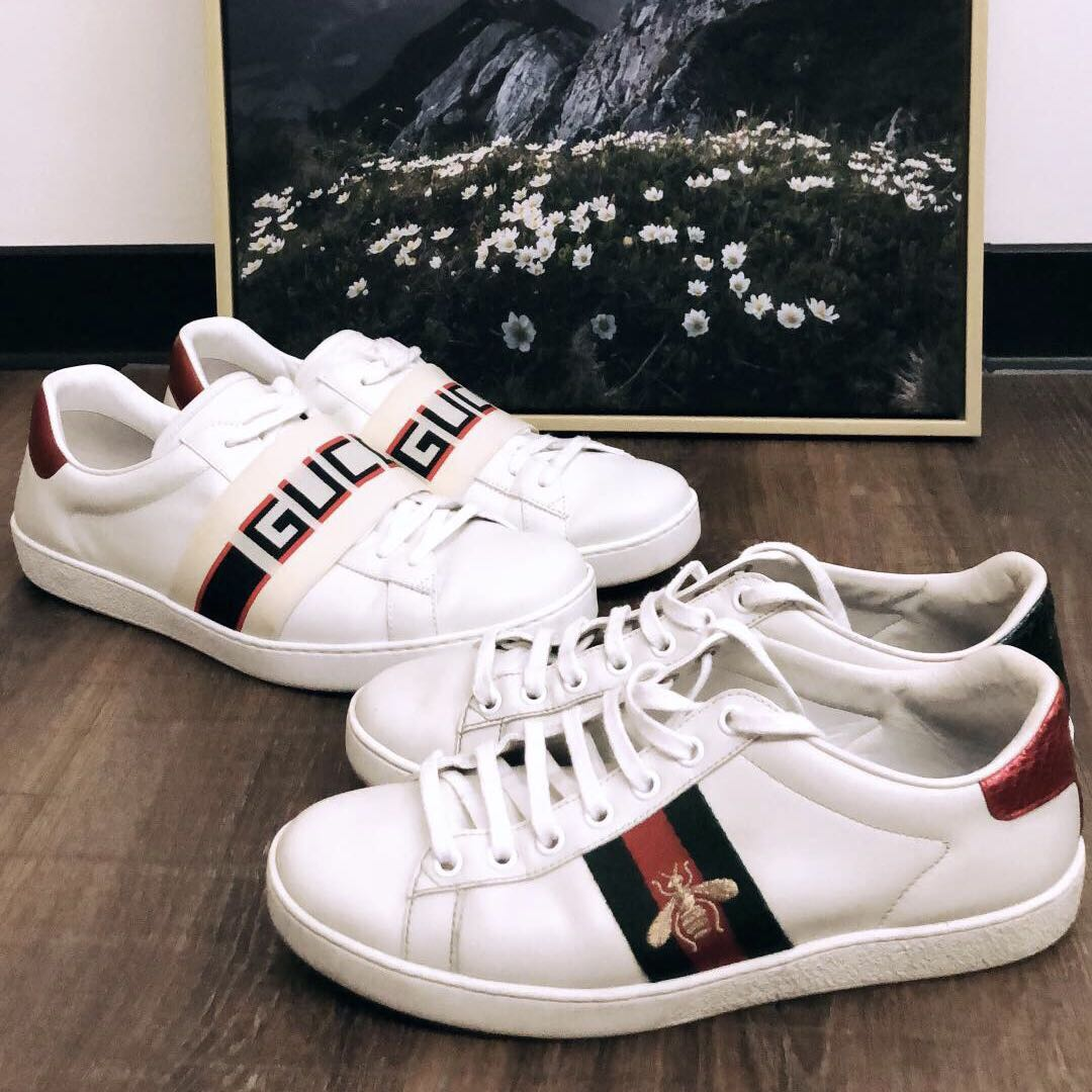 ea4d7112650 2 pairs of Gucci ace Sneakers for sale