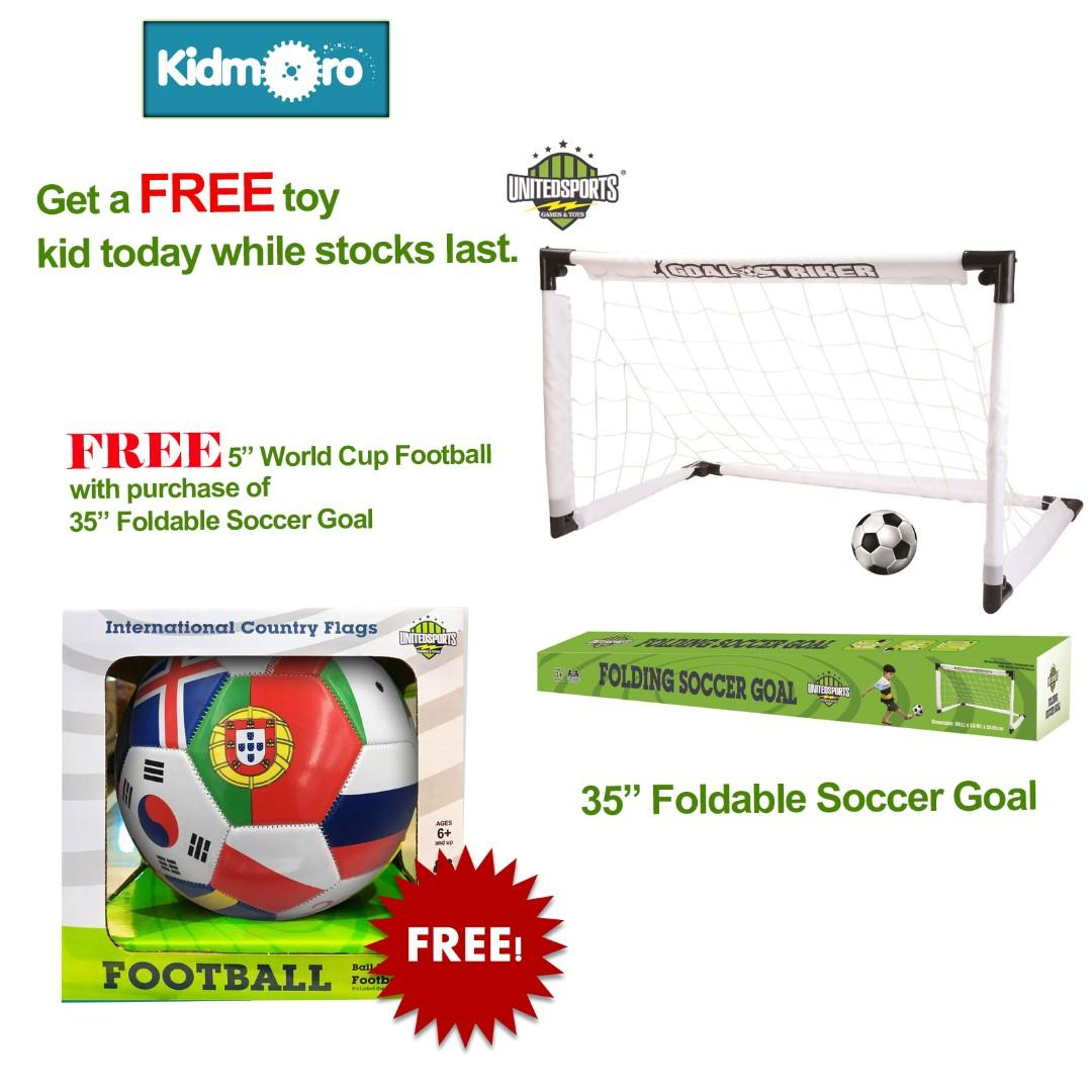35 inches Fold-able Soccer Goal Set with FREE 5 inches World Cup Football