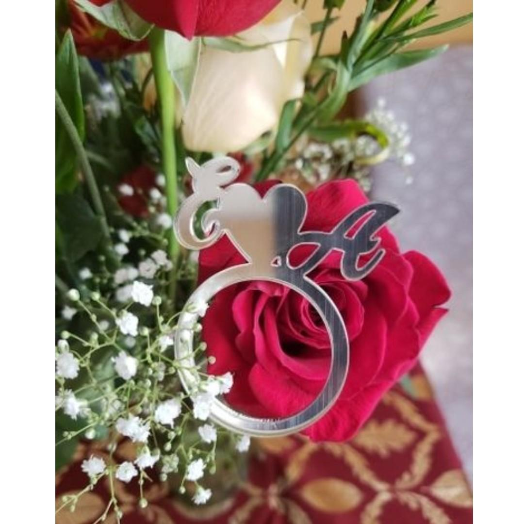 50 Pcs Mirror Silver Personalized Napkin Ring With Laser Cut Initials Everything Else On Carousell