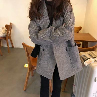 韓版復古西裝毛呢千鳥格外套 (中長款)
